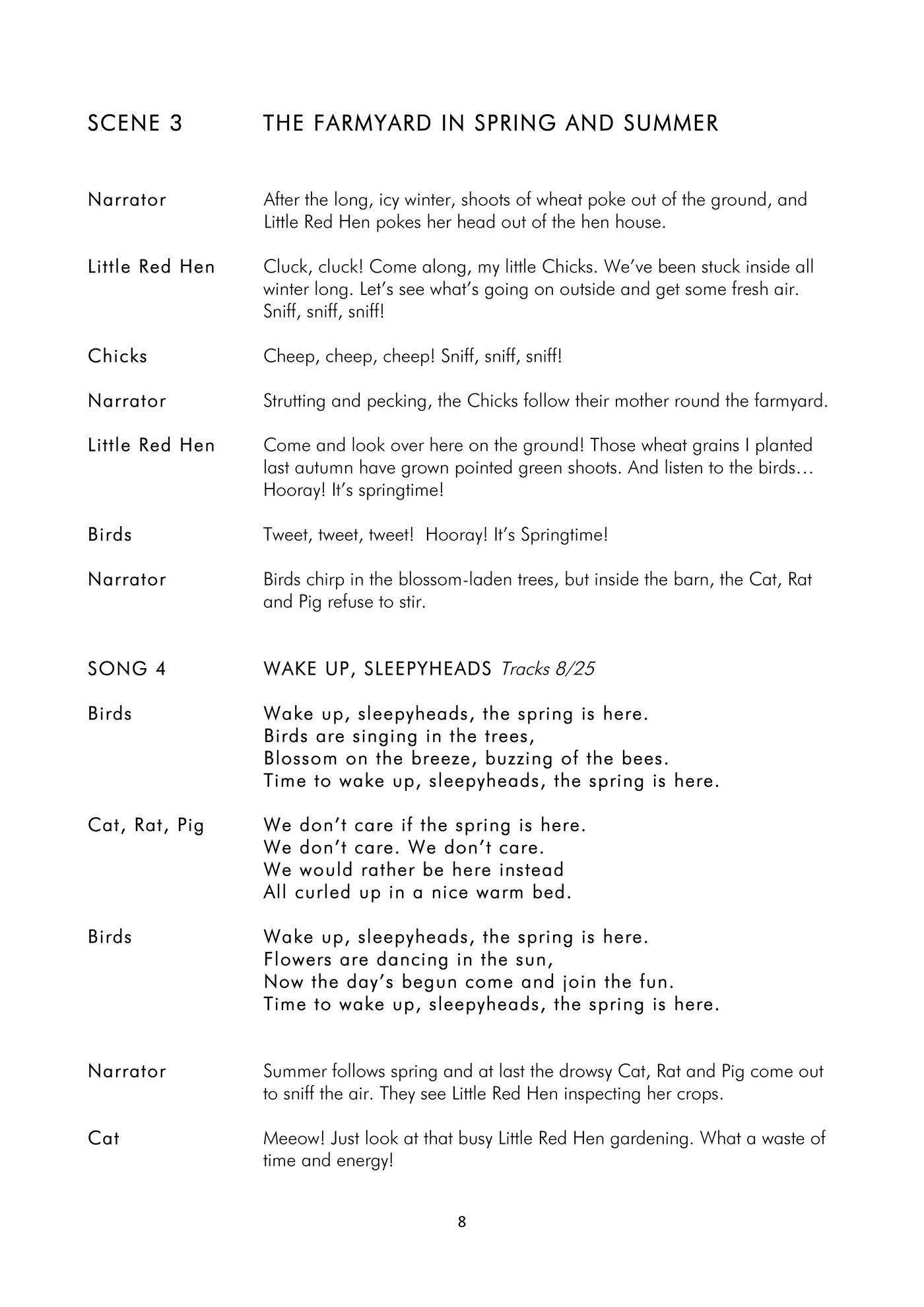 Hooray for the LIttle Red Hen_Script_Sample